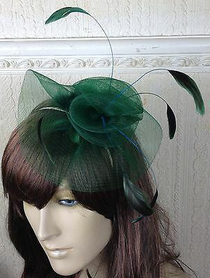 green netting feather hair headband fascinator millinery wedding hat ascot race