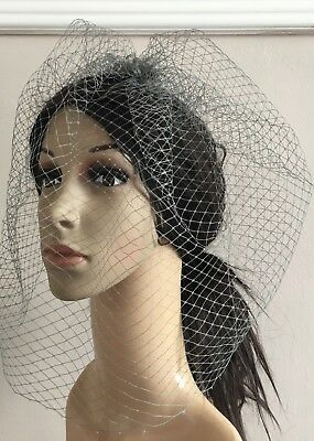 grey french veil veiling fascinator wedding bridal hair hat comb clip race