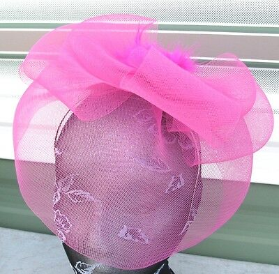 hot pink feather fascinator millinery burlesque headband wedding hat race ascot