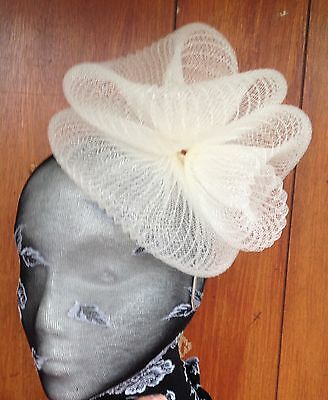 Ivory fascinator millinery burlesque wedding hat hair piece ascot race bridal