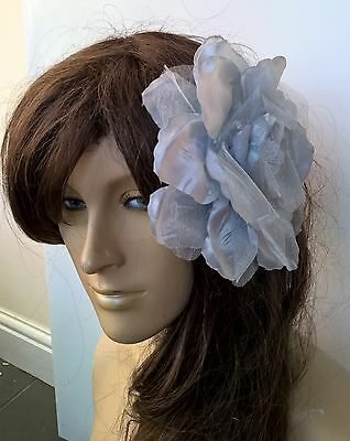 grey satin flower fascinator millinery burlesque wedding hat bridal race