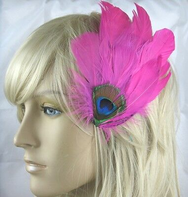 hot pink fascinator millinery peacock feather hair clip wedding piece ascot