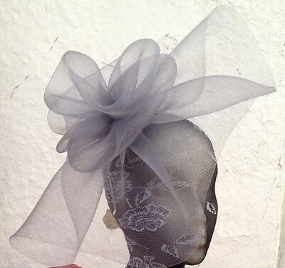 grey fascinator millinery burlesque wedding hat hair piece ascot race bridal x