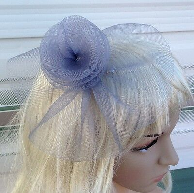 grey fascinator millinery feather brooch clip wedding hat bridal ascot race