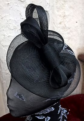 jet black fascinator millinery burlesque wedding hat ascot race bridal party