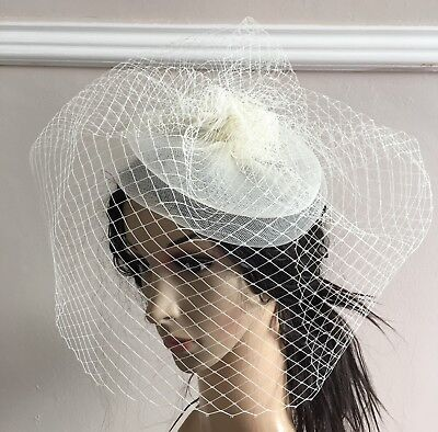 ivory french veil veiling fascinator wedding bridal hair clip hat race ascot