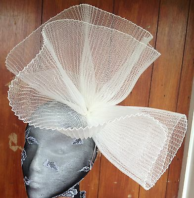 Ivory fascinator millinery burlesque wedding hat hair piece ascot race bridal x