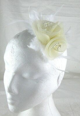 ivory cream fascinator millinery feather brooch clip wedding hair piece ascot
