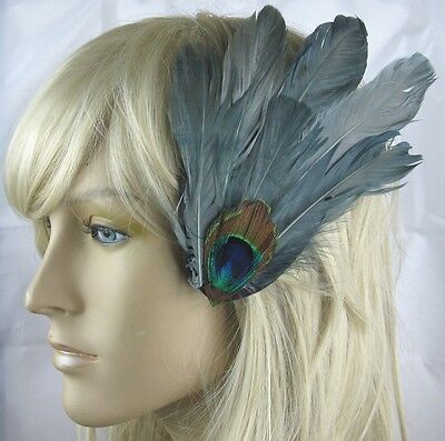 grey fascinator millinery peacock feather hair clip wedding piece ascot