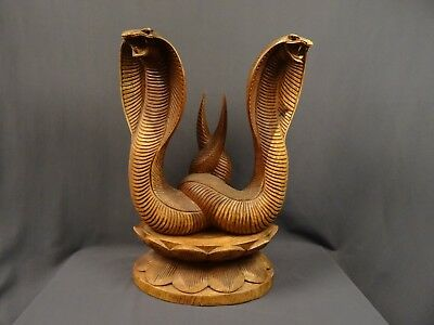 "Balinese Pair Cobra's Mating On Lotus Wooden Statue Hand Carved 14"" X 10.5"" X 5"""