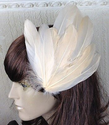 peach coral nude feather fascinator millinery hair clip wedding piece ascot race