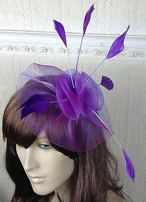 purple netting feather hair headband fascinator millinery wedding hat ascot 1