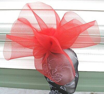 red feather fascinator millinery burlesque headband wedding hat hair piece
