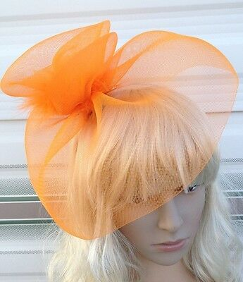 orange feather fascinator millinery burlesque headband wedding hat hair piece x