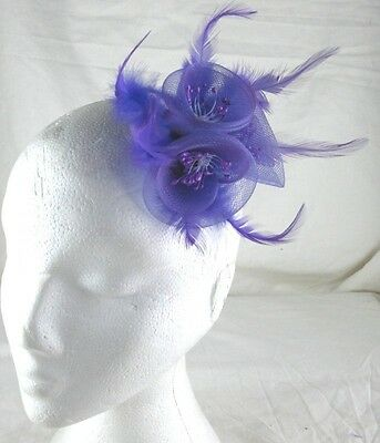 purple fascinator millinery feather brooch clip wedding bridal hair piece ascot
