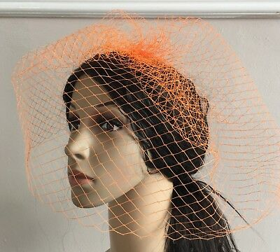 orange french veil veiling fascinator wedding bridal hair hat comb clip race