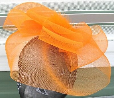 orange feather fascinator millinery burlesque headband wedding hat race ascot x