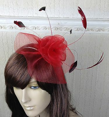 red netting feather hair headband fascinator millinery wedding hat ascot race
