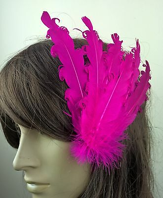pink feather fascinator millinery hair clip wedding piece ascot race dance