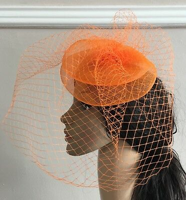 orange french veil veiling fascinator wedding bridal hair clip hat race ascot