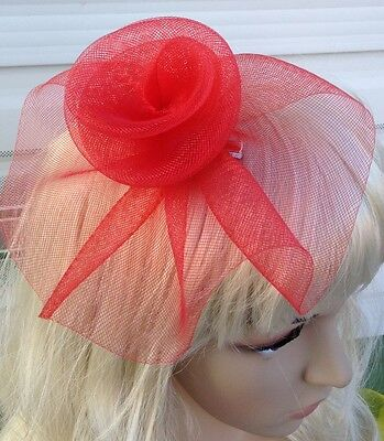 red fascinator millinery feather brooch clip wedding hat bridal ascot race