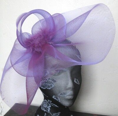 purple feather fascinator millinery burlesque headband wedding hat hair piece