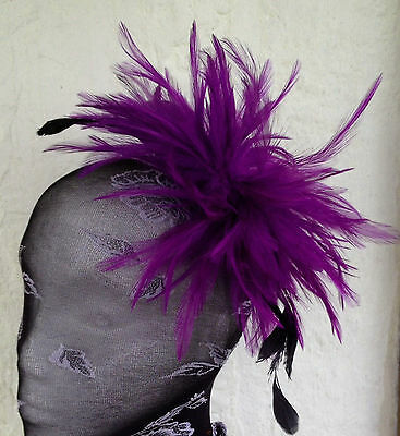 Purple fascinator millinery feather brooch clip wedding ascot hat hair piece