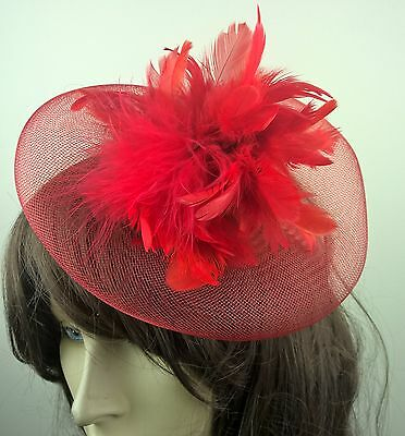 red feather fascinator millinery burlesque wedding hat bridal race ascot