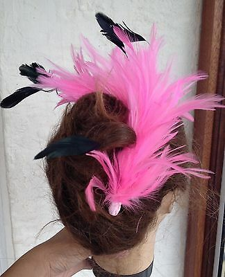 Pink feather comb fascinator millinery bridal wedding hat hair piece race