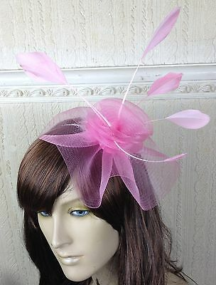 pink feather netting hair headband fascinator millinery wedding hat race ascot x