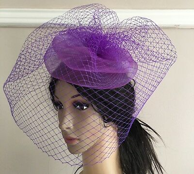 purple french veil veiling fascinator wedding bridal hair clip hat race ascot
