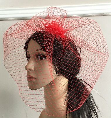 red french veil veiling fascinator wedding bridal hair hat comb clip race