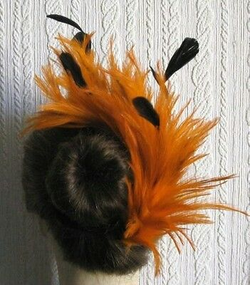 orange feather comb fascinator millinery hair piece bridal wedding hat ascot