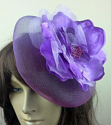 purple satin flower fascinator millinery burlesque wedding hat bridal race