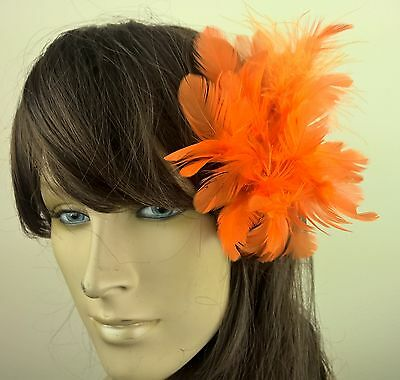 orange feather flower fascinator millinery hair clip wedding piece ascot race