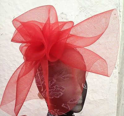 red fascinator millinery burlesque wedding hat hair piece ascot race bridal
