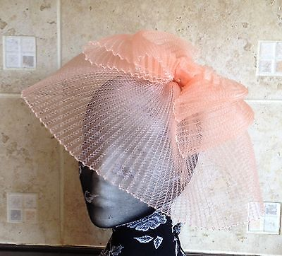 Peach coral nude fascinator millinery burlesque wedding hat ascot race bridal