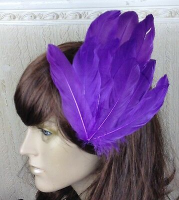 purple feather fascinator millinery hair clip wedding piece ascot race dance
