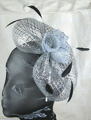 sliver feather headband fascinator millinery wedding ascot hat hair piece