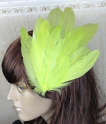 yellow green feather fascinator millinery hair clip wedding piece ascot race