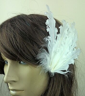 white feather fascinator millinery hair clip wedding piece ascot race dance