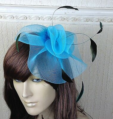 turquoise teal feather hair headband fascinator millinery wedding hat ascot race