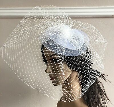 white french veil veiling fascinator wedding bridal hair clip hat race ascot