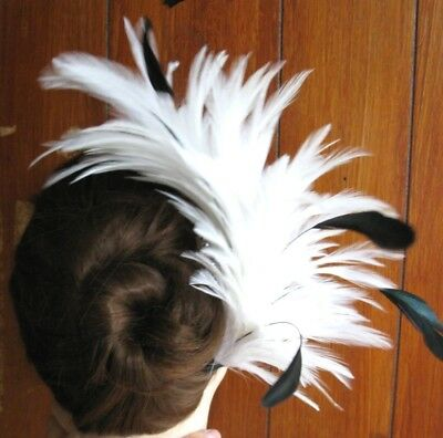white feather comb fascinator millinery wedding bridal race ascot hair piece hat