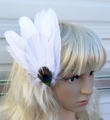 white fascinator millinery peacock feather hair clip wedding piece ascot