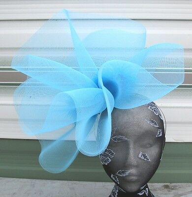 turquoise feather fascinator millinery burlesque headband wedding hat hair
