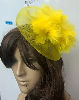 yellow feather fascinator millinery burlesque wedding hat bridal race ascot