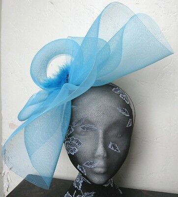 turquoise feather fascinator millinery burlesque headband wedding hat hair piece