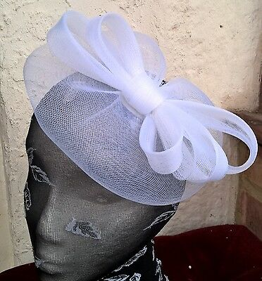 white fascinator millinery burlesque wedding hat ascot race bridal party