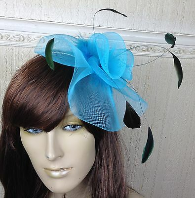 turquoise teal feather hair headband fascinator millinery wedding hat ascot